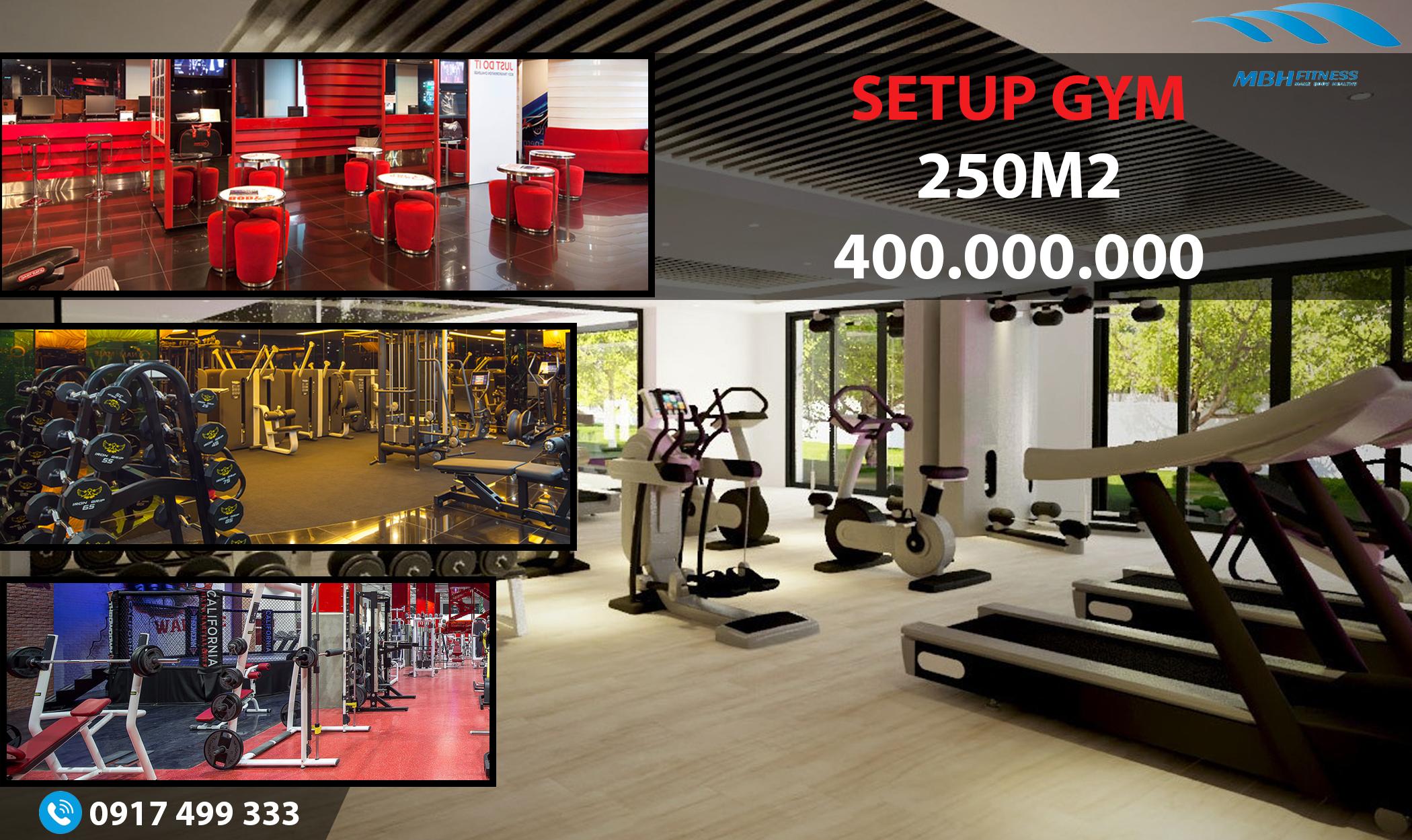 Setup phòng Gym 250m2, 400 triệu