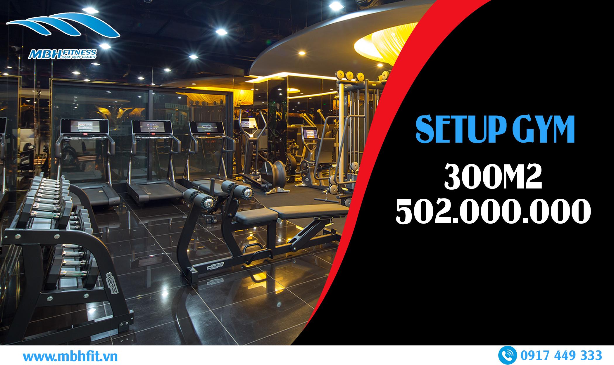 Setup phòng Gym 300m2, 502 triệu