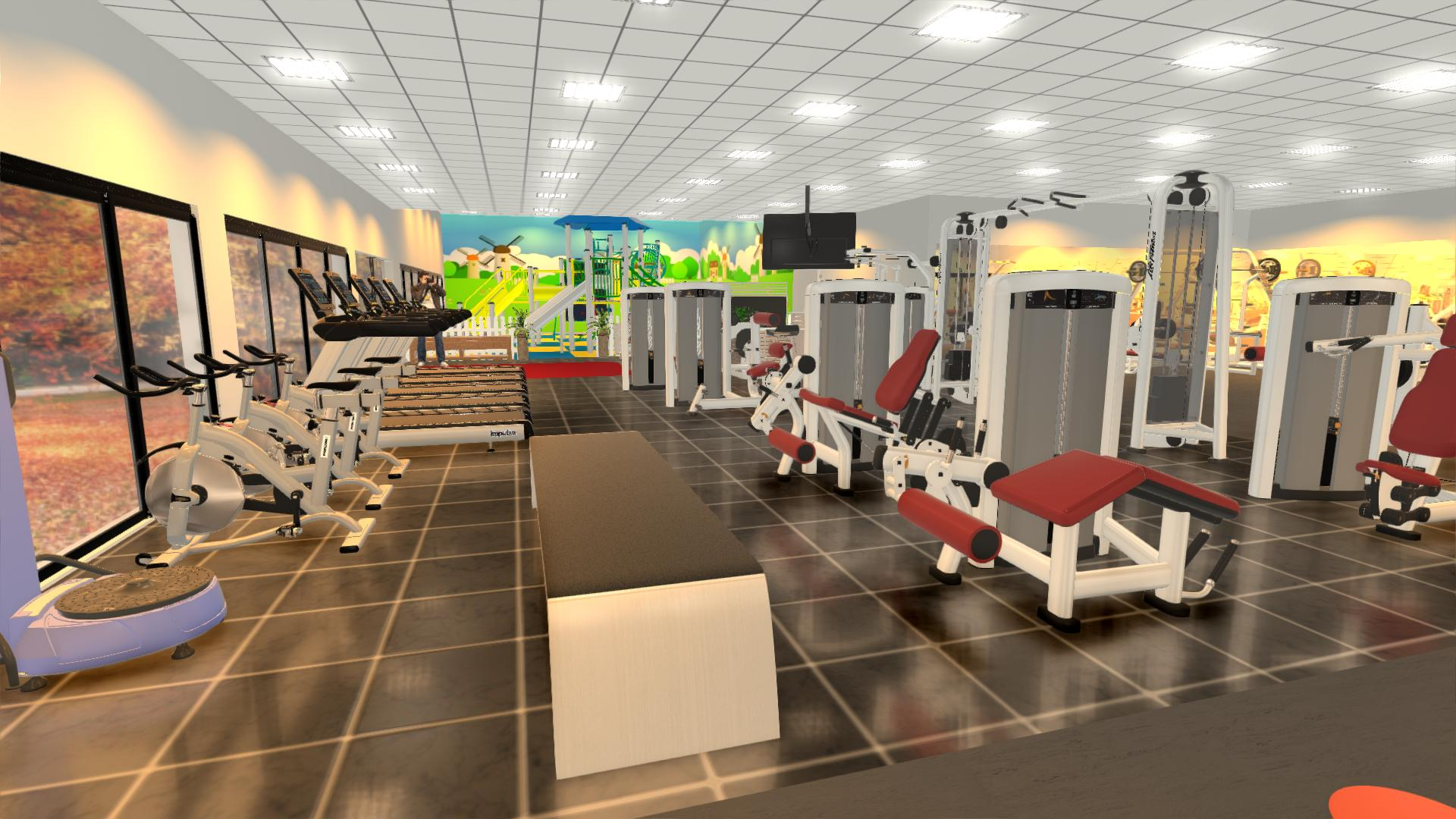setup phòng gym 350m2, 750 triệu