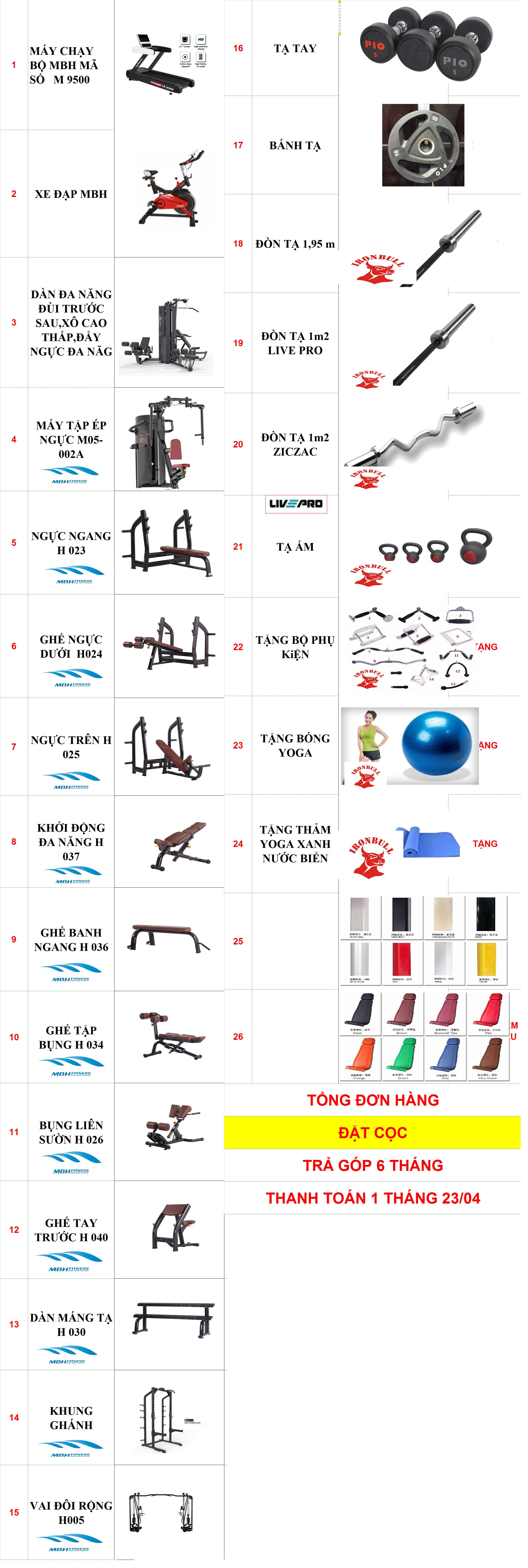 Gói setup phòng Gym 100m2, 300 triệu