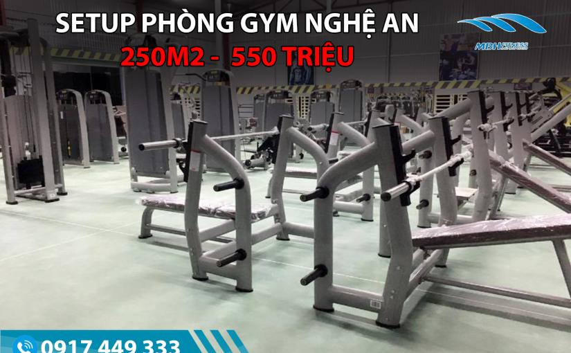 Setup phòng Gym 250m2, 550 triệu tại Nghệ An